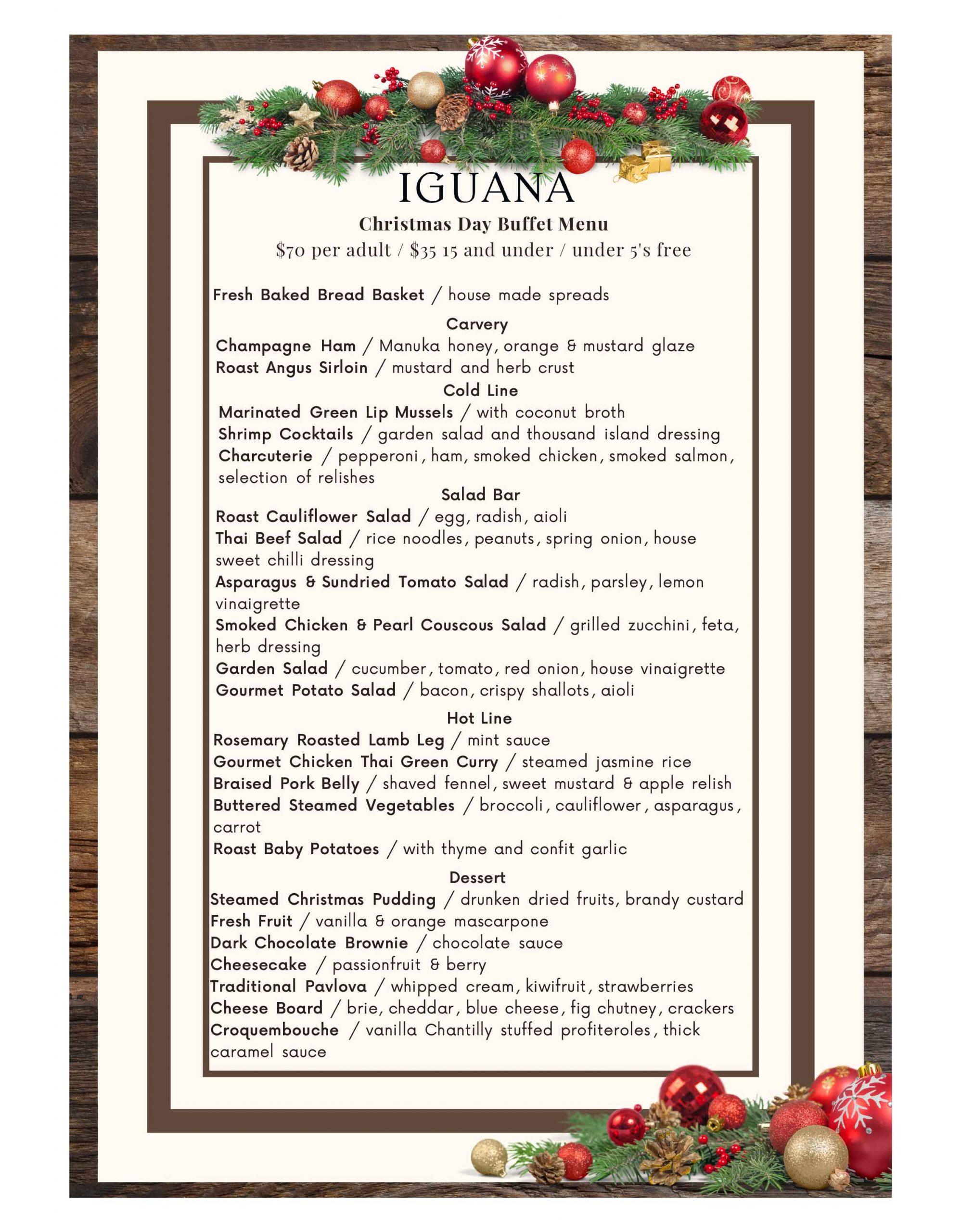 Iguana Christmas Day 2021 buffet